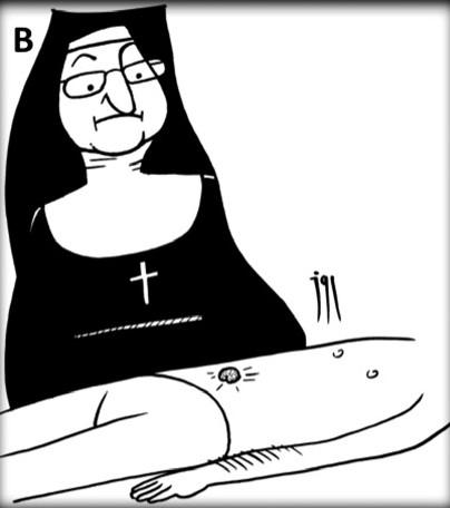 Caricatura Sister Mary Joseph nòdul. Maldonado Schoijetv