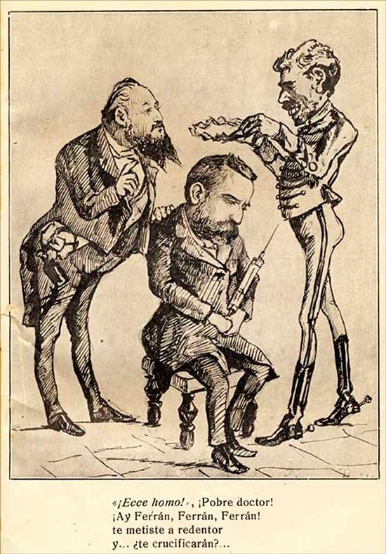 Caricatura Dr Ferran, Alfons XII i Romero Robredo