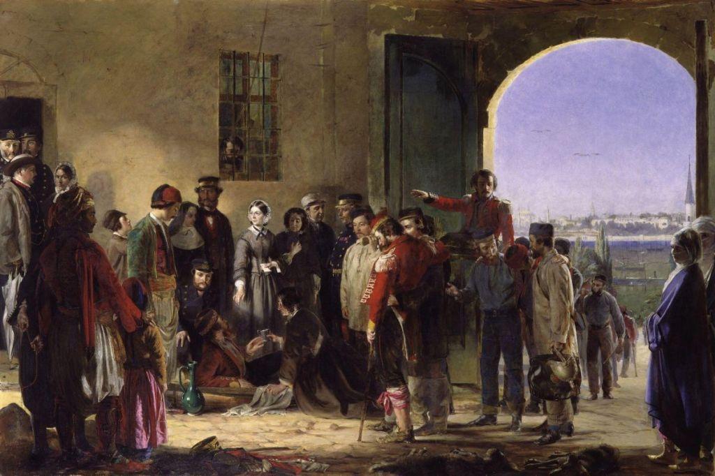 Nightingale rebent ferits a Scutari, de Jerry Barrett. National Portrait Gallery