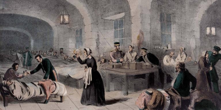 La dama de la lámpada a l'hospital militar de Scutari, 1855