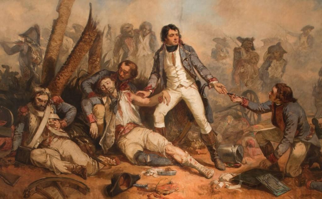 Larrey operant en el camp de batalla, pintat per Charles-Louis Muller